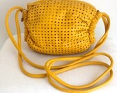 Vintage Brio Bright Yellow Perforated Leather Shoulder Bag
