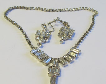 Vintage STUNNING Weiss Rhinestone Necklace and Matching Earrings - Perfect for Bride