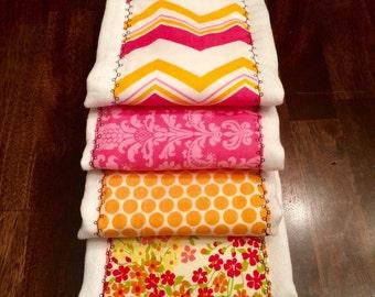 Baby Burp Cloth Set - Baby Set Burp Cloths - Pink and Orange Patterned (Set of 5)