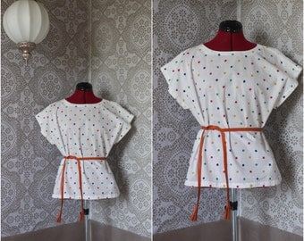 Vintage 1980's Polka Dot Cotton Blouse Large