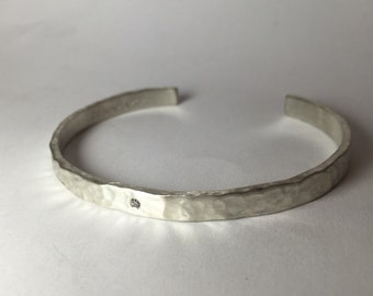 Hammered Diamond Cuff Bracelet