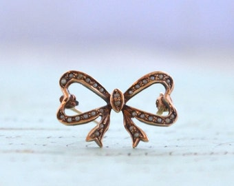 Victorian 10K Seed Pearl Bow Pin