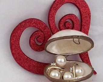 Vintage Estate Handmade Abalone Shell Trinket Box with Faux Pearl and Rhinestone RICHELIEU Pierced Earrings Gift Knick Knack Keepsake