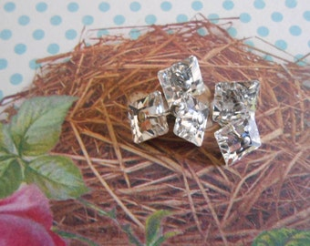 Buttons Square Crystal 5pcs