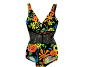 Vintage 1960's Cole of California Scandal Sheer Mesh Mod Neon Floarl Rare Pin Up Swimsuit Bathing Suit S