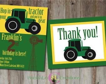 Tractor Birthday Invitation and matching Thank You. Personalized Tractor Invite. Tractor Party. Tractor Birthday. Custom Birthday Invitation