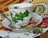 Vintage and newer Mismatched Teacup, Saucer, salad/luncheon plate trio, AND Michelangelo teaspoon, doily tea set, mix & match shabby chic