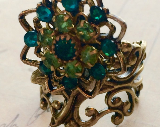 Flower Ring, Swarovski Crystal Ring, Vintage Rings, Adjustable Rings, Rings For Women, Green Crystal Ring
