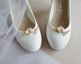 Flower Bridal Shoe Clip- Swarovski Crystal and Rhinestones Shoe Clips  - Wedding Flowers Shoe Accessory