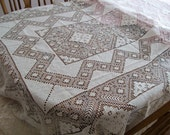 "Net Knotted Lace Tablecloth Vintage Shabby Chic 60"" x 70"" Reduced"