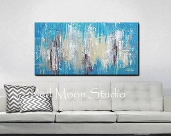 Bright Turquoise Abstract Painting, Abstract Art, Large 48x24, Beach Art Nautical - Beach Cottage