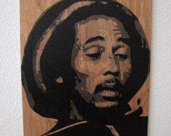 Bob Marley Multilayer Graffiti Stencil Art on Wood Panel
