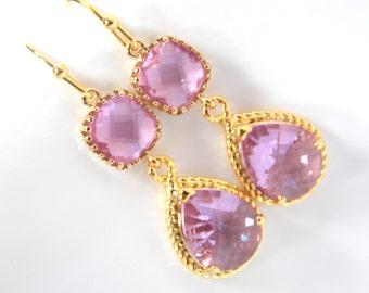 Gold Lavender Earrings, Lilac Earrings, Purple, Bridesmaid Jewelry, Wedding Jewelry, Bridesmaid Earrings, Bridal Jewelry, Bridesmaid Gifts