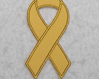 Gold Awareness Ribbon (Children's Cancer - Childhood Cancer) MADE to ORDER - Choose SIZE - Tutu & Shirt Supplies Iron on Applique Patch 6925