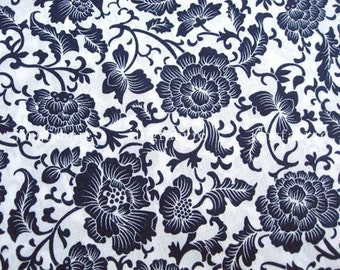 C2010A - 1 meter  Cotton Fabric - Deep blue flower printed on white background (145cm width)