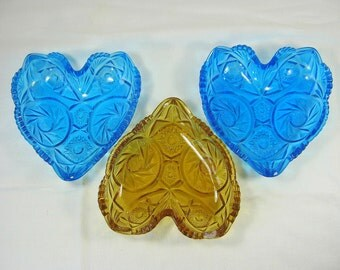 Vintage CANDY DISH Glass Heart McKee AZTEC Sunburst Cobalt Blue or Amber Your Choice!