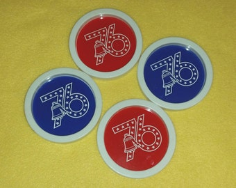 Four Vintage American Bicentennial Plastic Coasters - 76 Liberty Bell - red, white, and blue