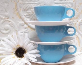 Blue Coffee Cup Saucer Set Melamine Melmac Sun Valley Set 3