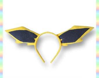 Jolteon Ears Headband - Fleece Anime Geek Gift Pokemon Yellow Black Cute Kawaii Cosplay Ears Adult Teen Child