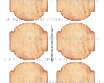 Old Paper Labels - Set of Six - Digital Download