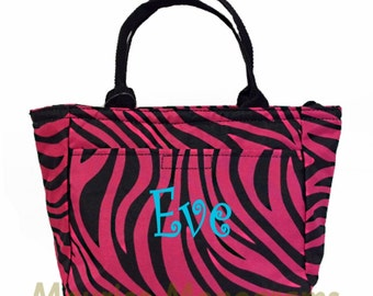 Personalized Canvas Zebra Insulated Lunch Tote-Black & Hot Pink Zebra Lunch Box - Monogram FREE