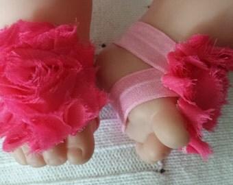 Newborn baby flower sandals. Dark Rose Pink Baby Barefoot Sandals Ready to Ship Newborn Prop