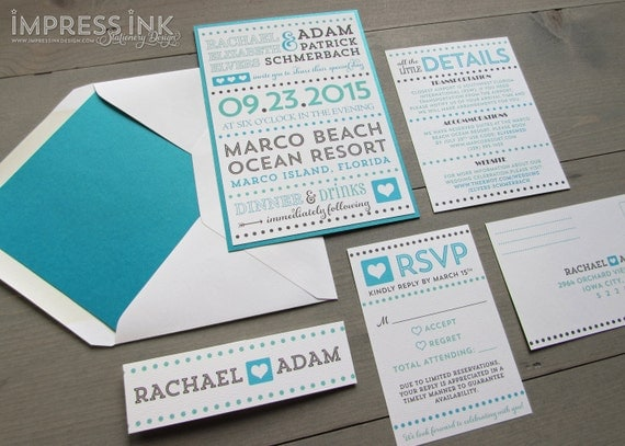 Fancy Typography Wedding Invitation Sample | Flat or Pocket Fold Style