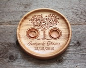 Ring bearer pillow alternative Personalized wood wedding ring bearer pillow Wedding ring dish Wedding ring plate Ring holder Tree of Love