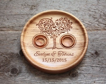 Wedding plaque Ring bearer pillow alternative Wedding ring bowl Wedding ring dish Wedding ring plate Wedding Ring holder Tree of Love