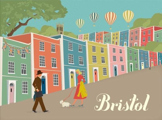 Bristol Greetings Card - Rainbow Houses