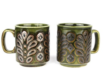 Vintage Pair of Funky 1970's Metallic Glaze Coffee Mugs by WP