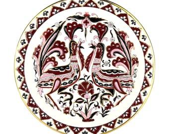 Vintage 1980's Greek Decorative Souvenir/Tourist Plate featuring Purple and Pink Birds.