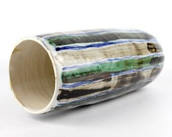 Vintage Metallic Glazed Vertically Striped Vase