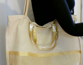 Tote Bag Linen with Waxed Bottom and Gold Stencil