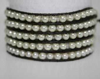 Glass Pearl 5 wrap bracelet
