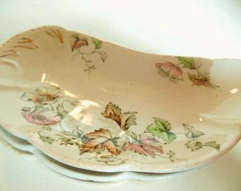 Vintage 1890's Porcelaine De Terra Plates John Edwards England Windflower Crescent Moon Shabby Chic