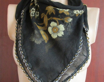 Black Grandmother SHAWL, Cream Floral Cotton Scarf,Bridal Scarf,Authentic, Romantic, Fashion, 1985s Vintage Scarf
