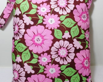 "Large wet bag. 13"" X 16"". Pink flowers on brown print fabric.Heat sealed seams. Ready to Ship"