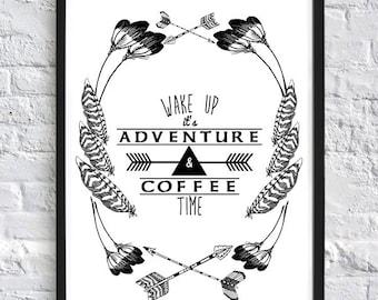 WHITE Adventure & Coffee Ceramic Campfire Mug by SeaJayShop