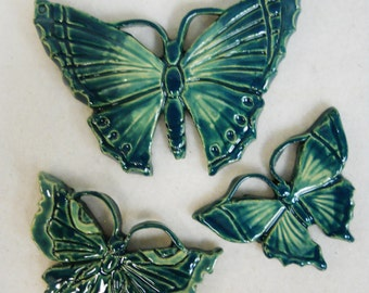 Handmade Ceramic Tiles BUTTERFLY Stoneware Aqua Teal Blue  Set of 3 - Mosaic Tile Pieces - Craft Tiles