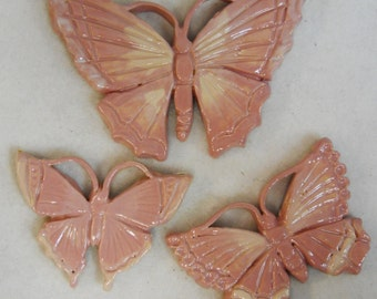 Handmade Ceramic Tiles BUTTERFLY Pink Mauve Dusty Rose Shades  Set of 3