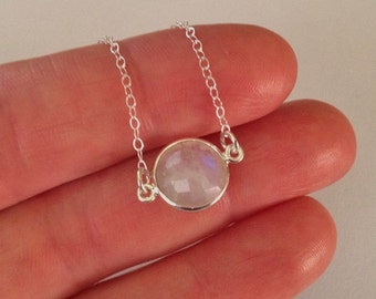 Moonstone Necklace in Sterling Silver -Silver Moonstone Necklace -Rainbow Moonstone Necklace