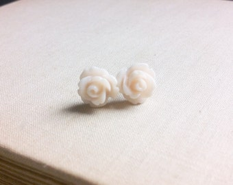 Ivory Rose Post Earrings.