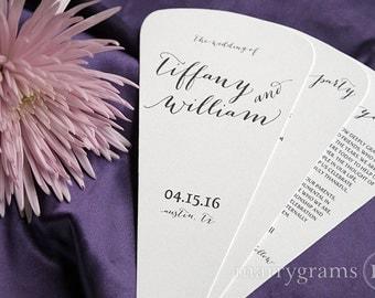 Wedding Program Fans 4 Blade Petal Programs w Satin Ribbon - Customizable Elegant Programs - Summer Wedding Custom Colors SS09 (Set of 50)