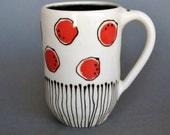 Ceramic Pottery Coffee Mug, Tea Mug, Coffee Cup, Handmade, Wheel thrown, Polka Dots