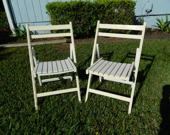 Vintage Folding Wood Chairs Shabby White Deck Chairs Set 2 Picnic Chairs Wedding Chairs