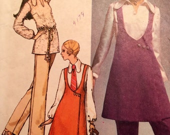 VINTAGE 1970s pattern Simplicity jumper pants and overblouse size 12 BIBA SUIT