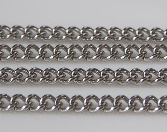 3 Feet - Stainless Steel Curb Link Chain - 2.2mm x 2.8mm (AM15-07)