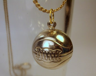 Vintage Old Style Basketball or Soccer Ball Pendant - Charm / Necklace / Jewelry / Gold Tone