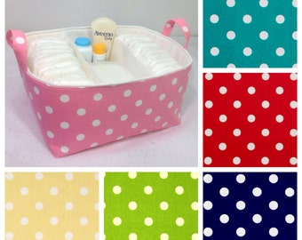 "XL Diaper Caddy 13""x11""x7"", Fabric Storage Bin, Basket You Choose Polka Dot and Solid Lining Colors"